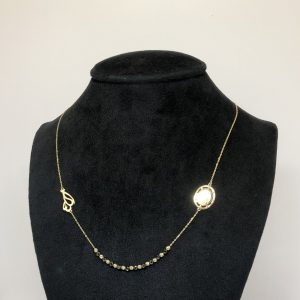Gold Baby Black Balls Necklace