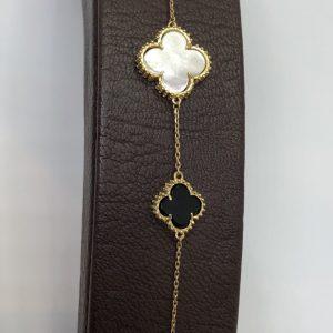 Black and White Clover Gold Bracelet