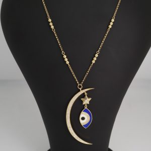 Crescent Studded Necklace