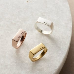 Personalized Rectangle Gold Signet Ring