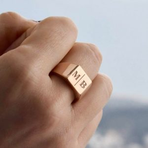 Gold Personalized Signet Ring