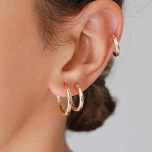 3 Pairs Gold Hoops Earrings